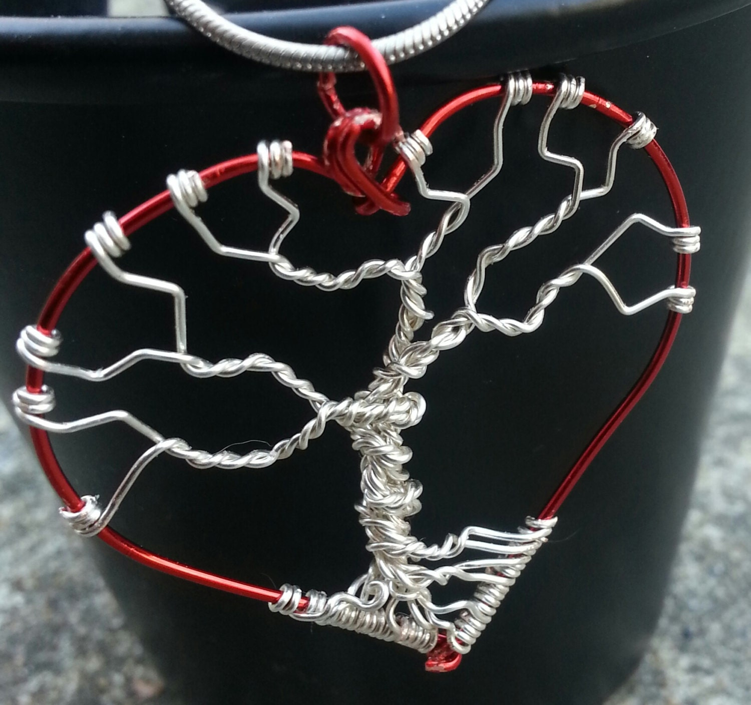 Red and Silver Heart tree of life Necklace