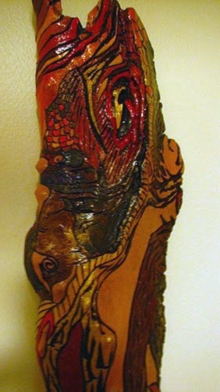 LUST Sculpture Pyrography on Painted Driftwood - ($125)