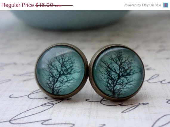 Entire Shop 15% Off Sale- Aqua Tree Post Earrings in Antique Brass