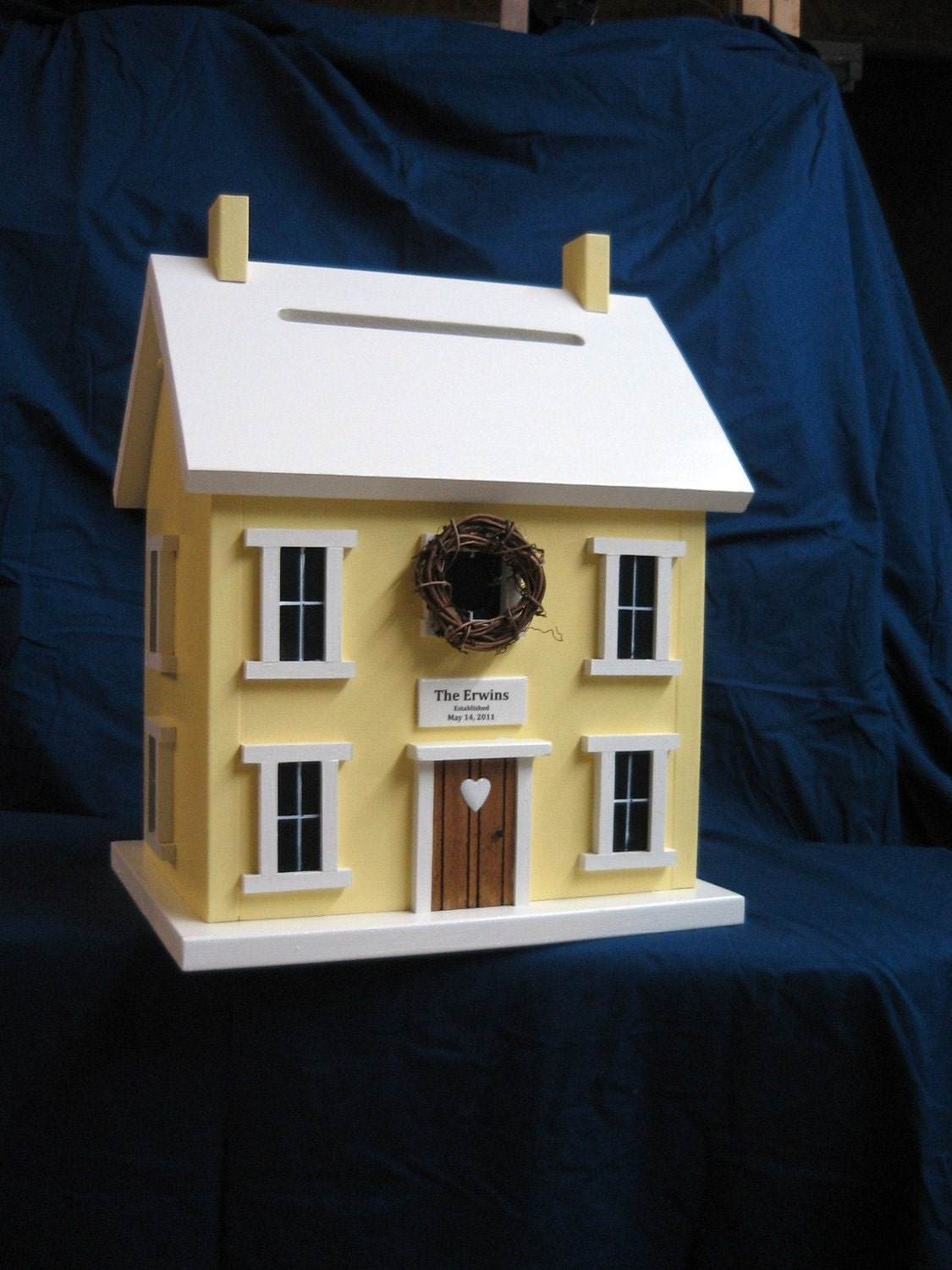 Wedding Card Holder Birdhouse Box Seaside Beach Yellow with White