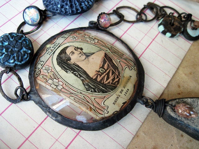 Queen Isabel. Rustic Victorian Tribal Mixed Media Assemblage Necklace.