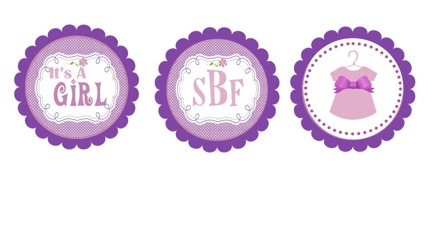 Pin purple baby shower cupcake toppers diy printable by for Baby shower cupcake decoration