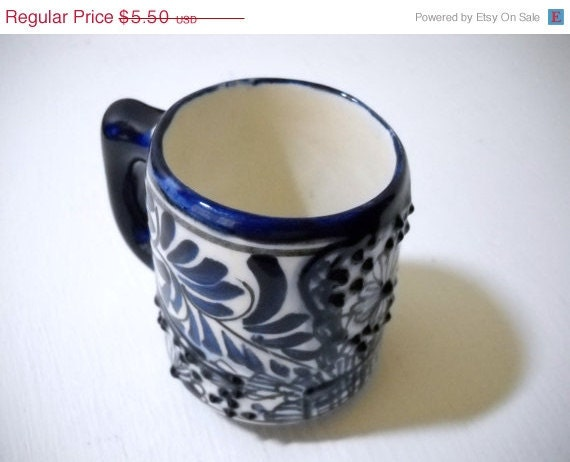 SALE Christmas In July Vintage Blue and White Handpainted Textured Cup Signed Mexico