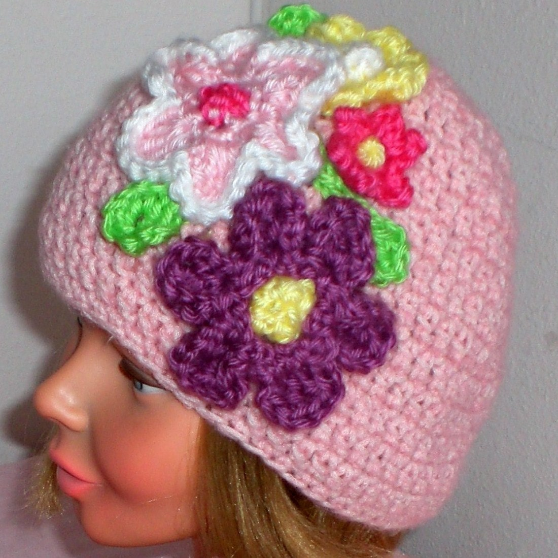 Pink Crochet Hat with Lots of Flowers