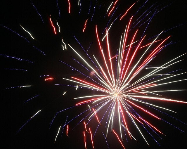 8x10 Photographic Print - Red White and Blue Fireworks - ktsphotos