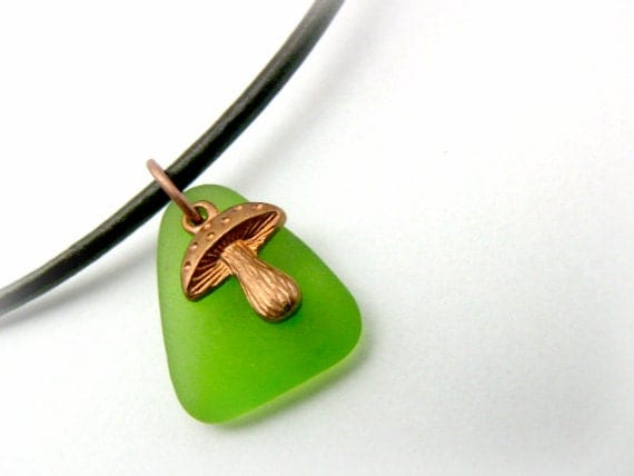 Alice in Wonderland Mushroom Necklace - Rare Recycled Glass -  Bright Green Apple - OOAK - Magic - Gift for Her - lefrenchgem
