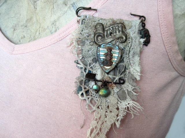Free Will. Textile and Antique Trinkets Rustic Victorian Gypsy Assemblage Brooch. Lace fabric and Labradorite Gemstones.
