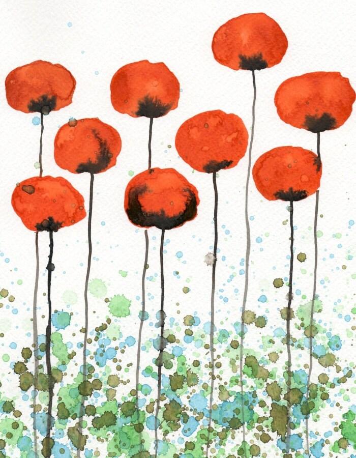 Jump Up -- Orange Flowers -- Giclee Print 11x14 - printmakerjenn