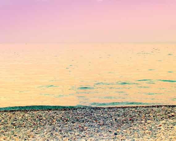 Beach Photography, Ocean Photo, Pink Ocean Print, Ocean Art Print, Minamalist