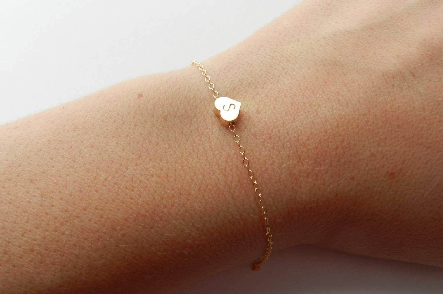 Katie. Handstamped heart bracelet on 14k gold filled chain