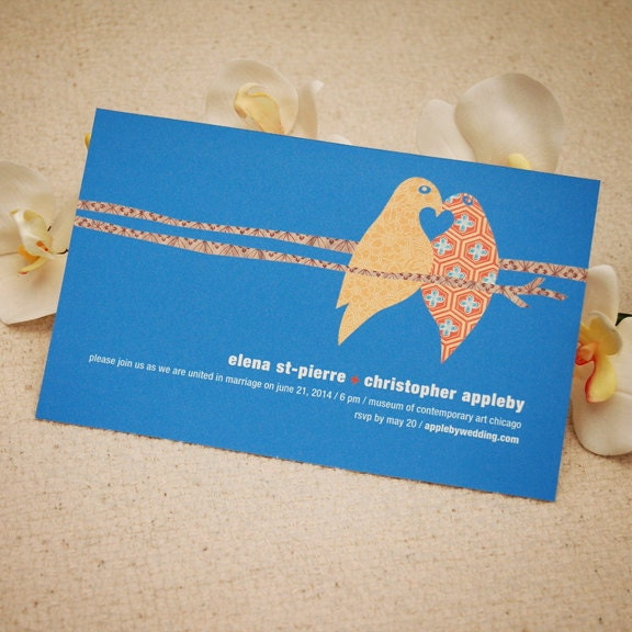 Printable Wedding Invitation Country Chic Lovebirds