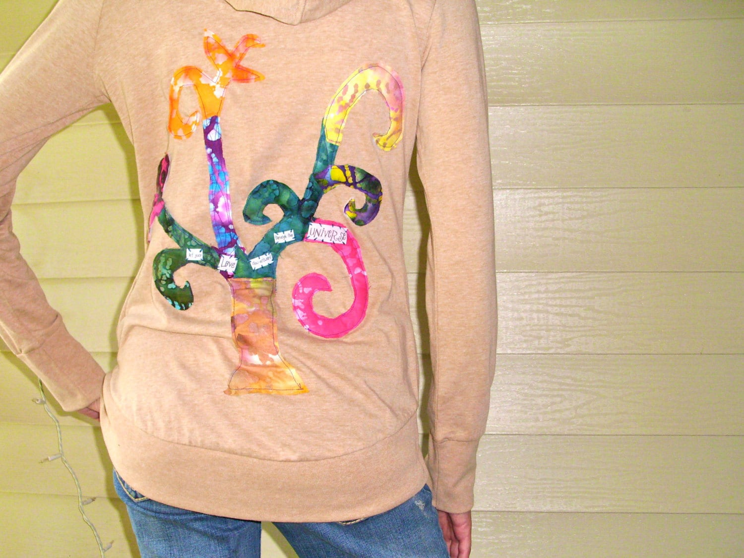 Tree of LIfe Collage Applique Organic Cotton Hoodie - Size Small