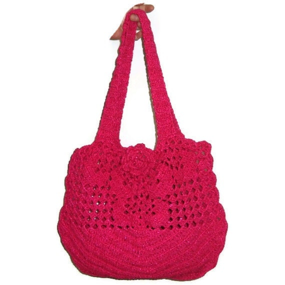 Handmade Crochet Bright Pink Summer Beach Purse Bag Tote - Mothers ...