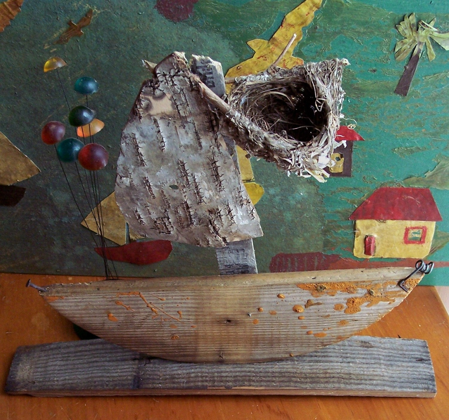 "Sailboat Junk art Ship assemblage ""Up in the Crows Nest"""