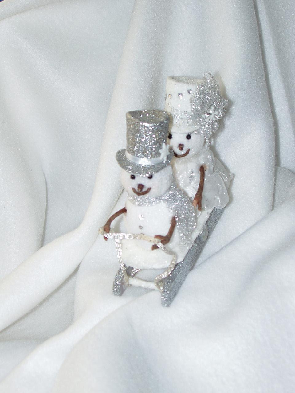 Snowman Sledding Winter Wedding Cake Topper