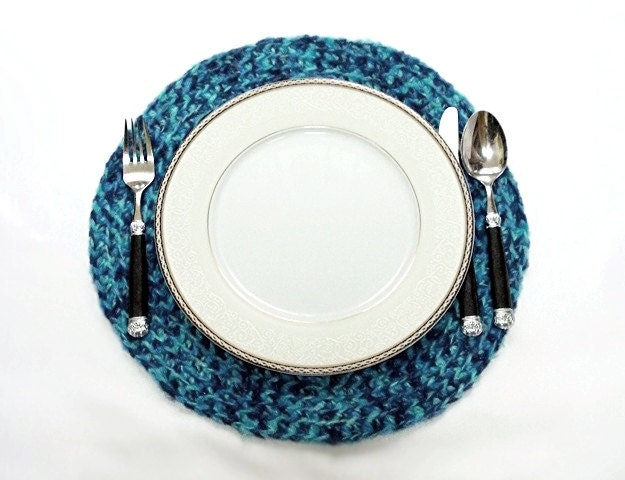 Crochet hot pad table mat / place mat, plate holder.... Very stylish... Blue placemat- Set of two placemat - Blue service set - aynikki