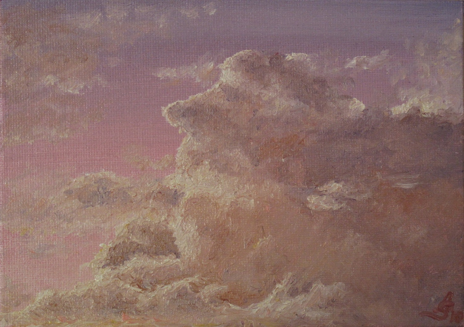 "Original oil painting ""Pink sunset"" (5""x7"") - StarkovaGallery"