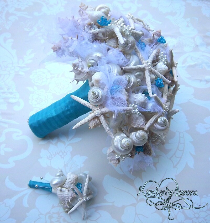 Made to Order Custom Details Bridal Bouquet of Shells (Blue Starfish Style). FULL PAYMENT