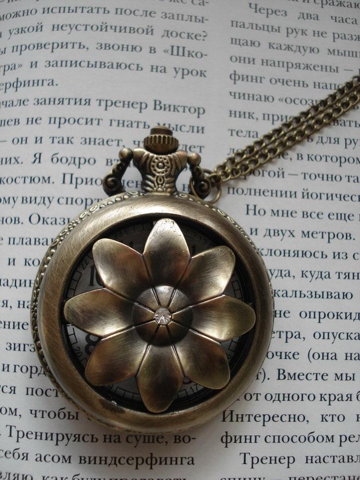 20% HOLIDAY SALE Necklace Pendant Flower bronze Pocket Watch quartz Gift Chain E217