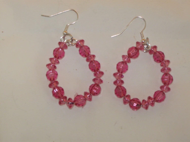 Dark Pink Bead Dangle Earrings