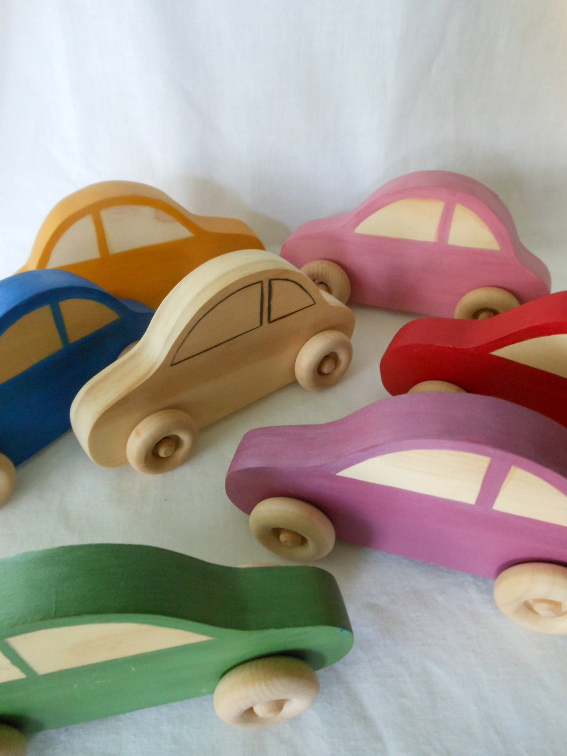 Wooden Car with Natural Wood Windows, Handmade, Handpainted, Montessori, Waldorf - terratreestudio