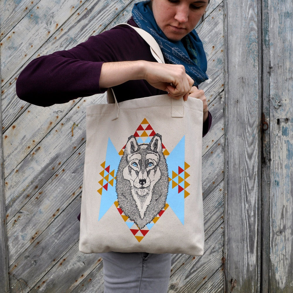 Handprinted Tote - The Wolf