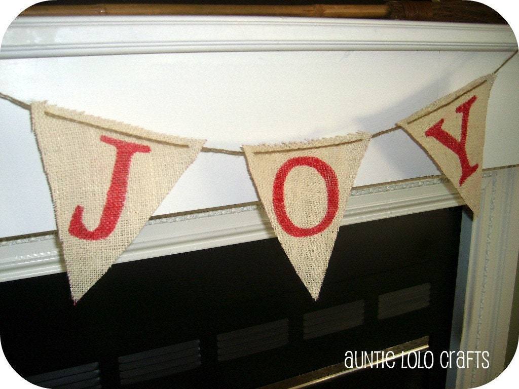 Burlap JOY Christmas Pennant Banner with Twine