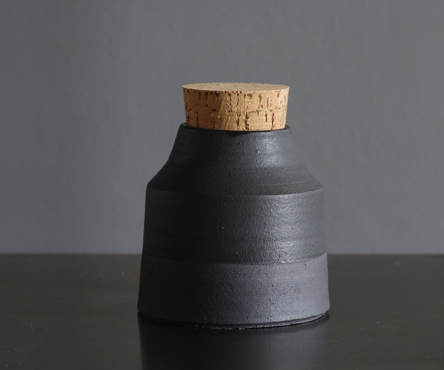 matte black bottle. matte glazed black stoneware bottle with cork stopper. pottery ceramic modern minimal simple - vitrifiedstudio