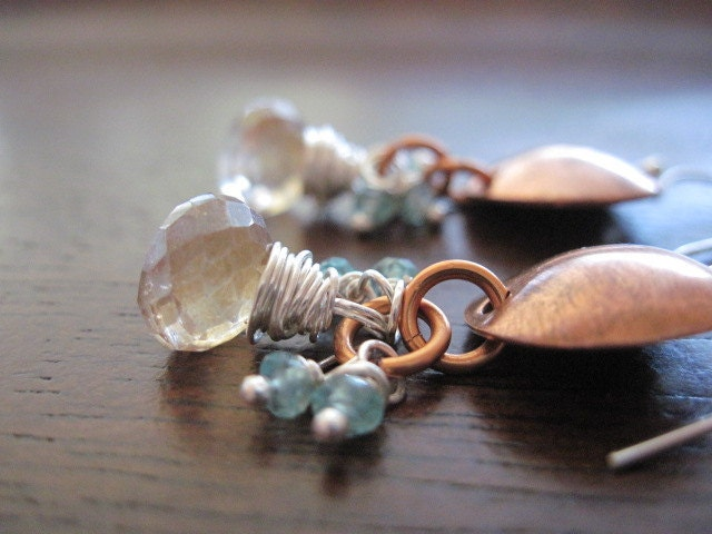 Apricot Quartz Earrings, Onion Briolettes, Apatite Rondelles, Sterling Silver, Bronze, Wire Wrapped