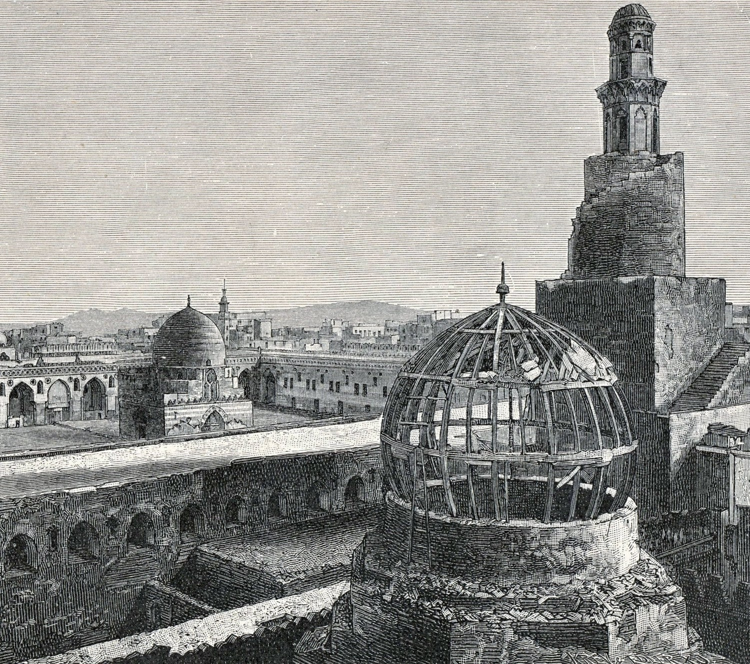 1886 German Antique Engraving. The Mosque of Ibn Tulun, Cairo, Egypt - bananastrudel