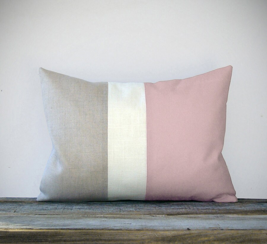 Pastel Pink Color Block Decorative Pillow with Cream and Natural Linen Stripes by JillianReneDecor Spring Home Decor - Girls Bedroom Nursery - JillianReneDecor