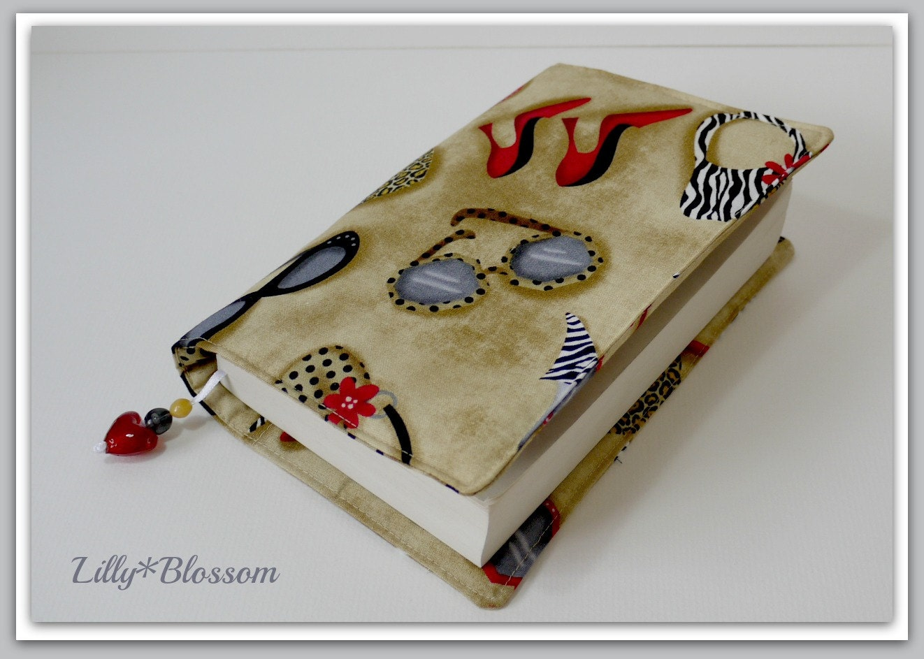 Fashionista by Michael Miller Fabric  Book Journal Cover Beaded Bookmark