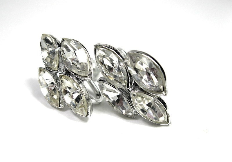 1940s, Vintage, Crystal Rhinestone, Marquis Earrings