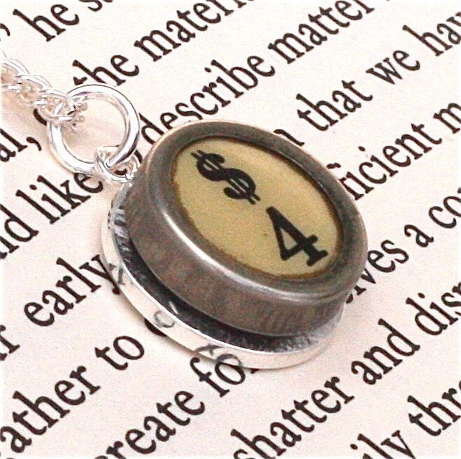 Gift for Accountant - Number 4 Vintage Typewriter Pendant - Great gift idea - Black or White  - qacreate
