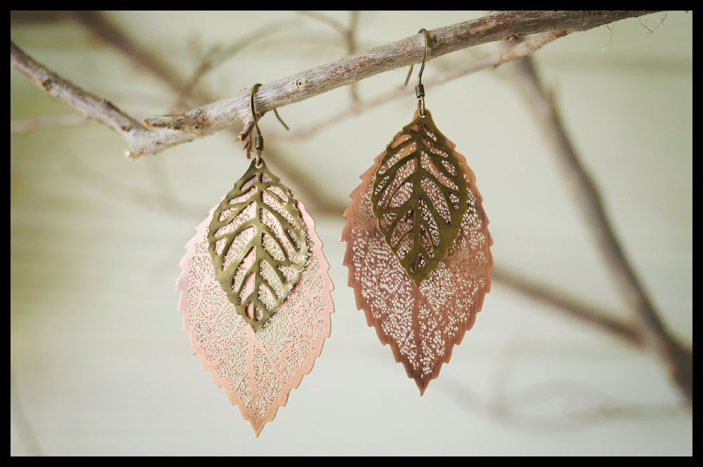 North Carolina Leafs: Leaf Earrings, Mixed Metal Earrings - TiffyBlanchflower