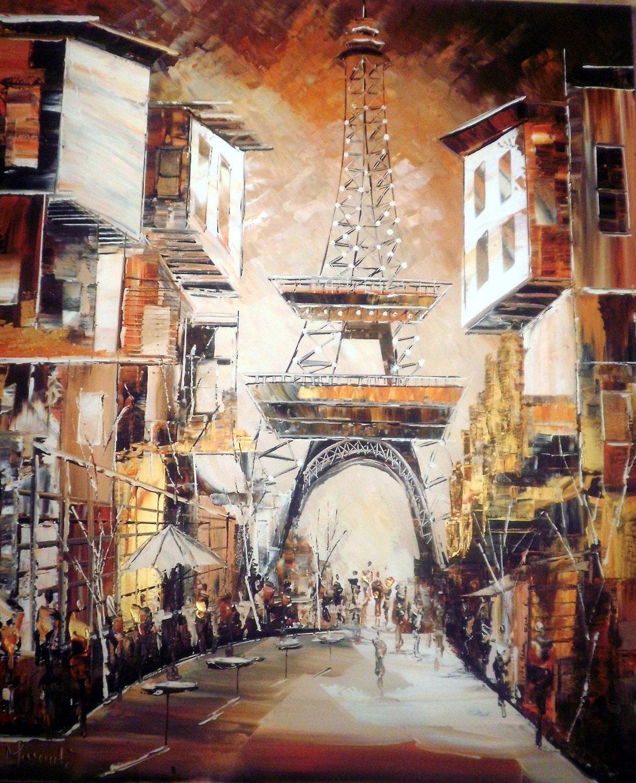 Magic Spring in Paris - Original Painting- FREE SHIPPING - Wall art - Ready to Hang- Interior design - orange - white - Coffee brown