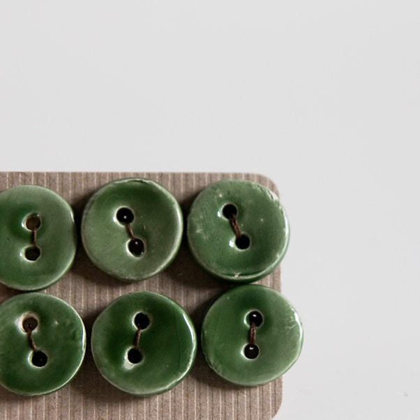 ceramic buttons, forest green, small round handmade pottery buttons, set of 6 by karoArt, made in Ireland