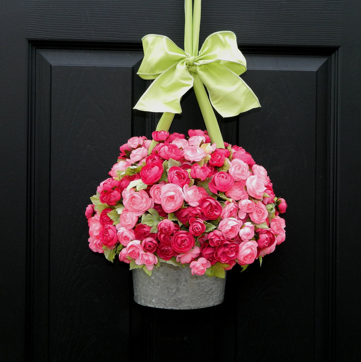 Spring Wreath - Alternative  - Pink Wreath - Mothers Day Gift - Flower Pail Basket