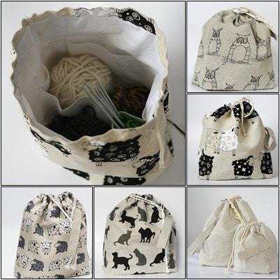 Drawstring сумка.  Большой проект вязания сумки.  Специальная конструкция KnitterBag.