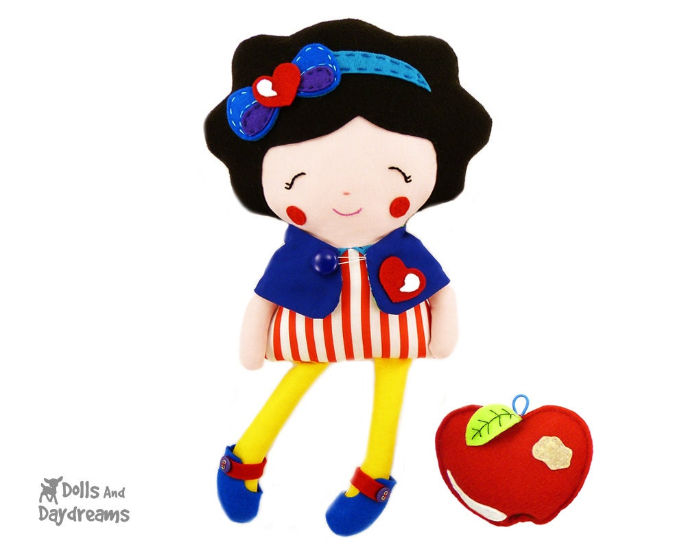 Snow White Sewing Pattern PDF Princess Doll Tutorial DIY - reversible Capelet, shoes and felt apple patterns included - DollsAndDaydreams
