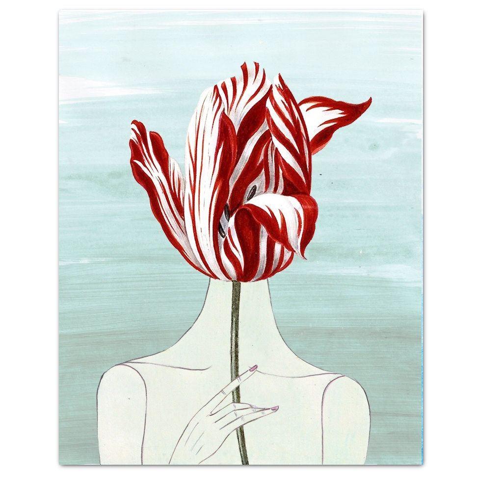 Print of a naked woman holding a large red tulip in front of her face