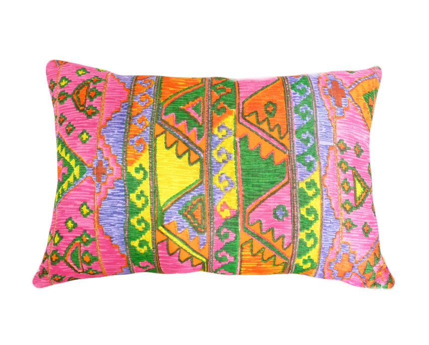 Colorful Throw Pillow Covers, Girls Bold Bright Decorative Throw Pillows, Cushion Cover, Pink Orange Green Yellow, Unique Eclectic 14x20 - PillowThrowDecor