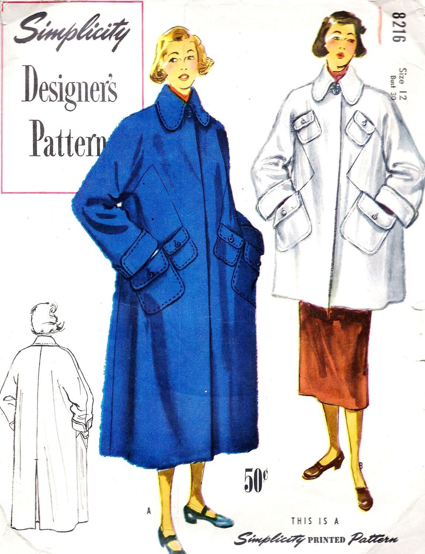 "1940s Misses Topcoat Vintage Sewing Pattern, Simplicity Designer's Pattern 8216 bust 30"" - MissBettysAttic"