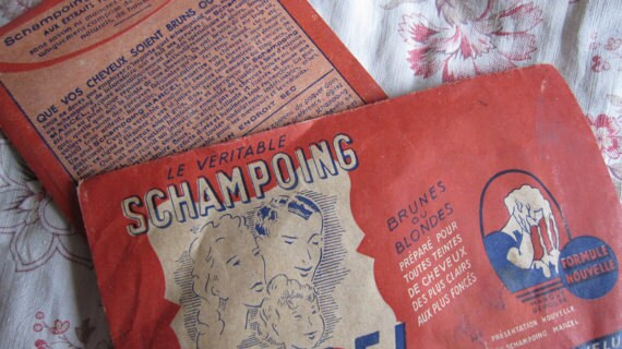 Two fabulous vintage French Marcel shampoo packets unused dated 1940s