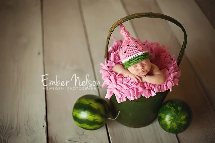 Knitted Infant Hat, Newborn Baby Watermelon Hat, Knit Photo Prop,Preppy Pink Green, Toddler, Children, Adult Sizes Avail - LittleBirdLucy