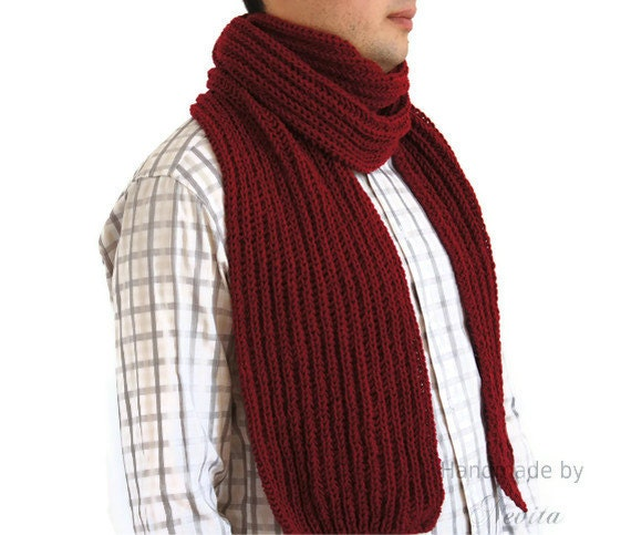 Sale 40 Hand knitted mens scarf Mens Scarf in dark red extra long  Hand Knitted Men's Scarves