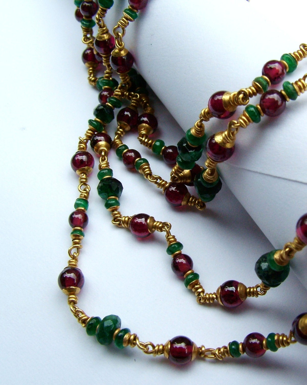 22k gold emerald garnet necklace...