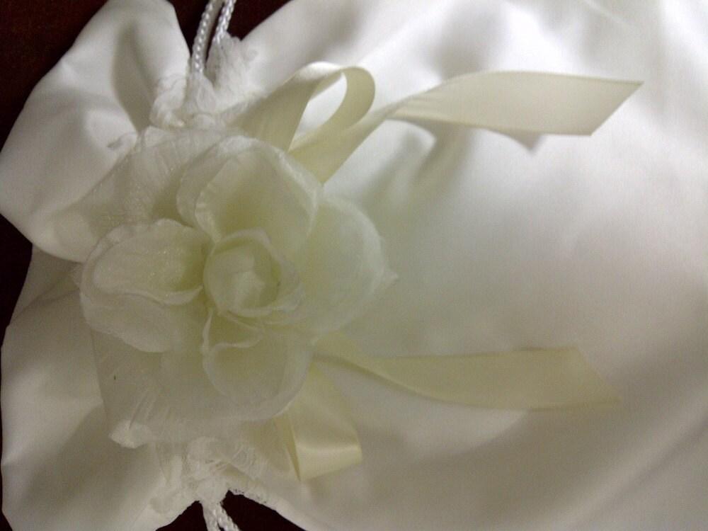 ivory matte satin money bag From weddingandafter