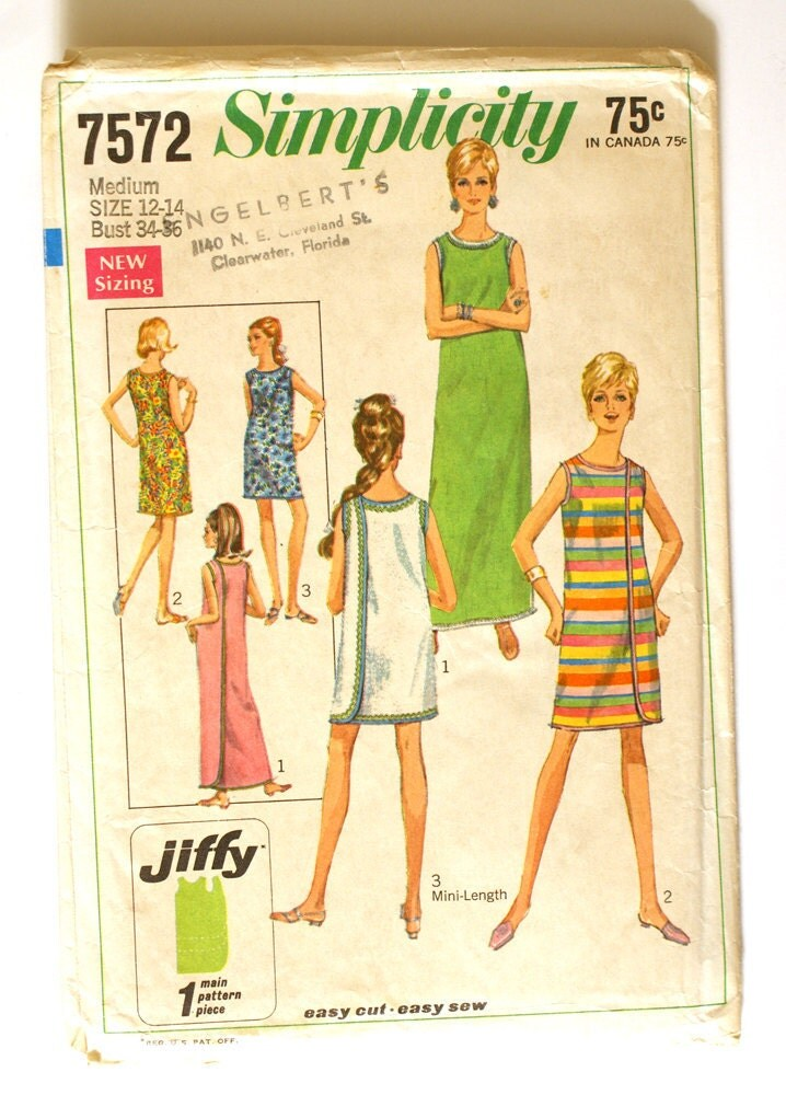 1960s wrap around dress pattern simplicity 7572 bust 34 to 36