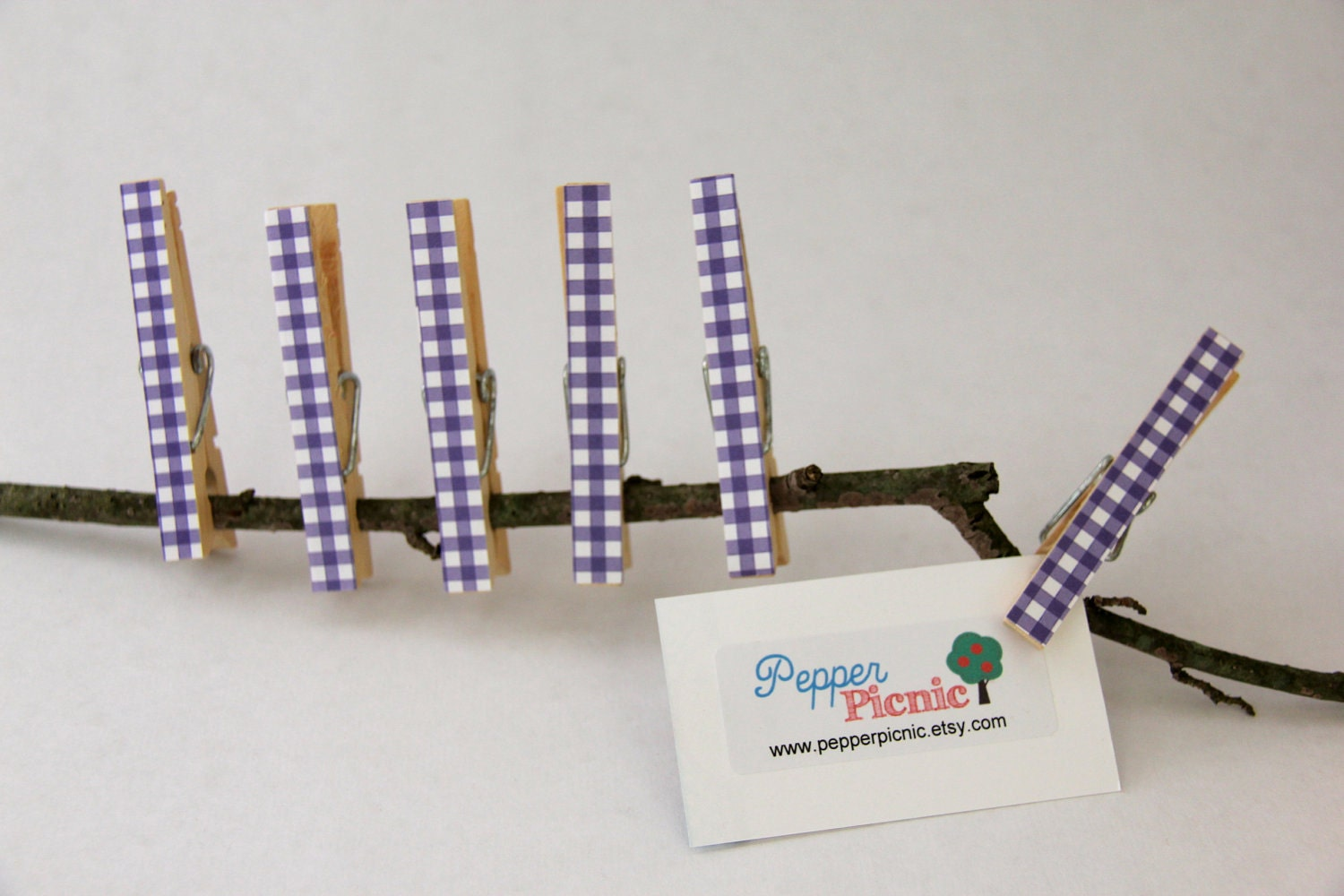 Decorated Wooden Clothes Pins/Pegs with Purple Gingham - Set of 6 - Pepperpicnic